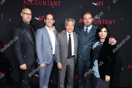 """Director/Executive Producer Gavin O'Connor, Greg Silverman, President of Creative Development and Worldwide Production for Warner Bros. Pictures, Kevin Tsujihara, Chairman and CEO of Warner Bros., Ben Affleck and Sue Kroll, President of Worldwide Marketing and Distribution for Warner Bros. Pictures, seen at the Los Angeles World Premiere of Warner Bros. Pictures' """"The Accountant"""" to benefit the American Film Institute at the TCL Chinese Theater, in Los Angeles"""