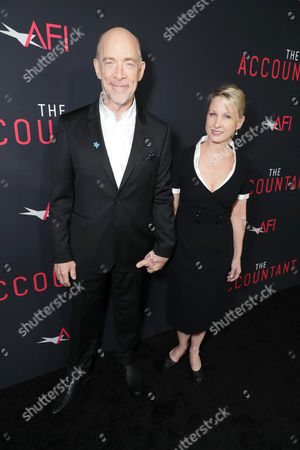 J.K. Simmat the TCL Chinese Theater ons and Michelle Schumacher seen at the Los Angeles World Premiere of Warner Bros. Pictures' 'The Accountant' to benefit the American Film Institute at the TCL Chinese Theater on Mat the TCL Chinese Theater onday, in Los Angeles