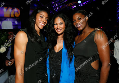Candace Parker, left, Kimora Lee Simmons, center, and Jantel Lavender attend the Time Warner Cable SportsNet and Time Warner Cable Deportes Networks launch event hosted by Time Warner Cable Sports, in Los Angeles