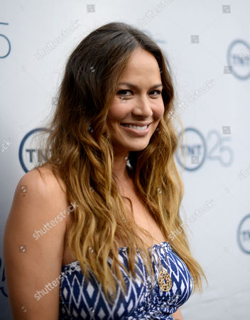 Moon Bloodgood arrives at the TNT 25th Anniversary Party on at The Beverly Hilton in Beverly Hills, Calif