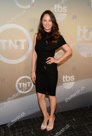 Moon Bloodgood poses backstage at the TNT and TBS Network 2014 Upfront Presentations at Madison Square Garden, in New York