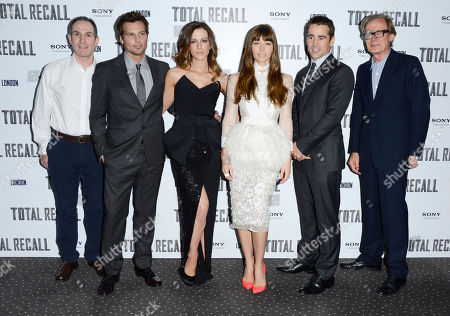 Toby Jaffe, Len Wiseman, Kate Beckinsale, Jessica Biel, Colin Farrell, Bill Nighy poses at Total Recall UK Premiere at Vue Leicester Square on in London