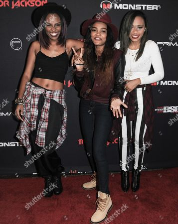 From left, Sierra McClain, China Anne McClain, and Lauryn McClain of the McClain Sisters arrive at Trevor Jackson's 18th Birthday Party, in Los Angeles