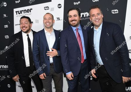 """Impractical Jokers"""" Sal Vulcano, left, James Murray, Brian Quinn and Joe Gatto attend the Turner Network 2016 Upfronts at Nick & Stef's Steakhouse, in New York"""