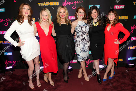 "Stock Photo of Katy Colloton, from left, Katie O'Brien, Kate Lambert, Kathryn Renee Thomas, Cate Freedman and Caitlin Barlow attend the TV Land launch party for season two of ""Younger"" and the premiere of ""Teachers"" at The NoMad Hotel, in New York"