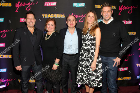 """Darren Star, from left, Cyma Zarghami, Philippe Dauman, Sutton Foster and Keith Cox attend the TV Land launch party for season two of """"Younger"""" and the premiere of """"Teachers"""" at The NoMad Hotel, in New York"""