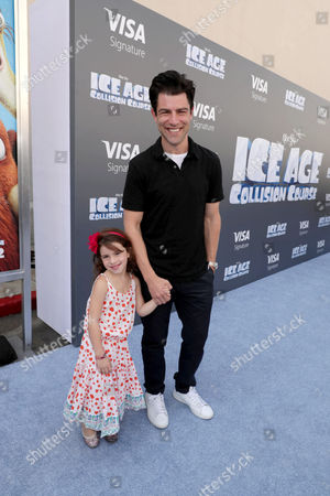"Stock Image of Lilly Greenfield and Max Greenfield seen at Twentieth Century Fox ""Ice Age: Collision Course"" Friends and Family Screening at Zanuck Theater, in Los Angeles"