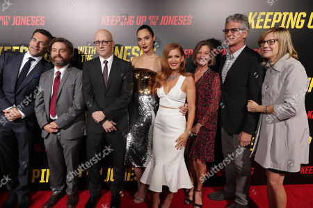 """Stock Image of Jon Hamm, Zach Galifianakis, Director Greg Mottola, Gal Gadot, Isla Fisher, Elizabeth Gabler, President of Fox 2000, Producer Walter F. Parkes and Producer Laurie MacDonald seen at Twentieth Century Fox """"Keeping Up with the Joneses"""" red carpet event, in Los Angeles"""
