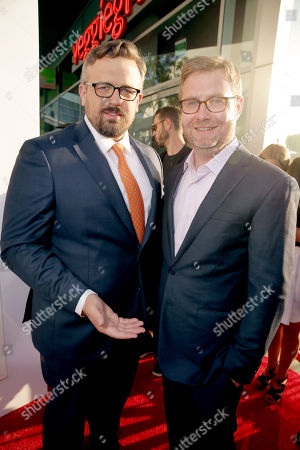 "Director Jake Szymanski and Writer/Executive Producer Brendan O'Brien seen at Twentieth Century Fox ""MIKE AND DAVE NEED WEDDING DATES"" Fan Screening Red Carpet Sponsored by Jim Beam Apple and FIJI Water at Cinerama Dome at ArcLight Hollywood, in Los Angeles"
