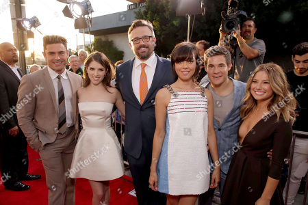 "Zac Efron, Anna Kendrick, Director Jake Szymanski, Aubrey Plaza, Adam Devine and Sugar Lyn Beard seen at Twentieth Century Fox ""MIKE AND DAVE NEED WEDDING DATES"" Fan Screening Red Carpet Sponsored by Jim Beam Apple and FIJI Water at Cinerama Dome at ArcLight Hollywood, in Los Angeles"
