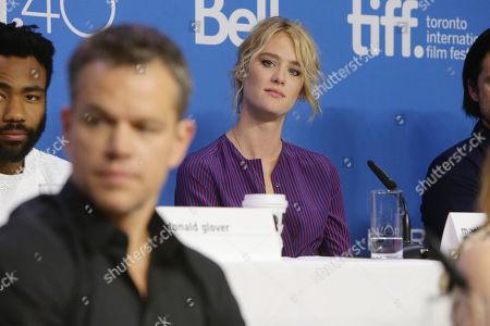 Matt Damon and Mackenzie Davis seen at Twentieth Century Fox 'The Martian' press conference at the 2015 Toronto International Film Festival, in Toronto, CAN