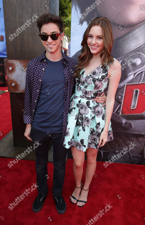 Teo Halm and Ella Wahlestedt seen at the Twentieth Century Fox and DreamWorks Animation Los Angeles Premiere of 'How to Train Your Dragon 2', in Westwood, Calif