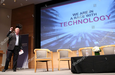Scott McGregor, president and CEO of Broadcom, discusses the age of smart machines and questions whether society is prepared for the exponential changes in technology anticipated in the future, in his keynote at the UCLA Anderson Forecast at the UCLA campus, in Los Angeles