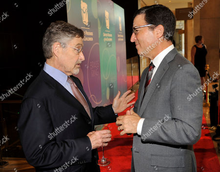 Barry Meyer, left, Chairman of Warner Bros. Entertainment, mingles with Bruce Rosenblum at the United Friends of the Children Brass Ring Awards Dinner at the Beverly Hilton Hotel on in Beverly Hills, Calif