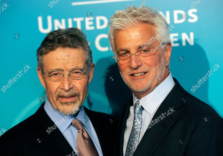 Honoree Rob Friedman, right, poses with Barry Meyer, Chairman of Warner Bros. Entertainment, at the United Friends of the Children Brass Ring Awards Dinner at the Beverly Hilton Hotel on in Beverly Hills, Calif