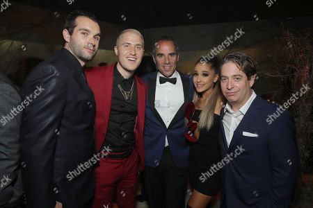 Mike Posner, Monte Lipman, Founder & Chairman of Republic Records, Ariana Grande, and Charlie Walk, Executive Vice President of Republic Records, seen at Universal Music Group Grammy Party Presented by American Airlines and Citi at The Theatre at Ace Hotel, in Los Angeles, CA