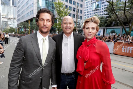 "Matthew McConaughey, Producer Christopher Meledandri and Scarlett Johansson seen at Universal Pictures ""Sing"" at the 2016 Toronto International Film Festival, in Toronto"