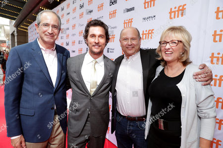 "Brian L. Roberts, Chairman and CEO of Comcast Corporation, Matthew McConaughey, Producer Christopher Meledandri and Producer Janet Healy seen at Universal Pictures ""Sing"" at the 2016 Toronto International Film Festival, in Toronto"