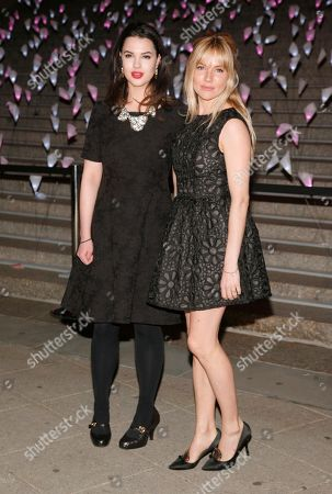 Stock Image of Actresses Matilda Sturridge, left, and Sienna Miller, right, attend the Vanity Fair Tribeca Film Festival Party,, in New York