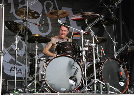 James Cassells with Asking Alexandria performs during the Vans Warped Tour 2015 at Aaron's Amphitheatre, in Atlanta