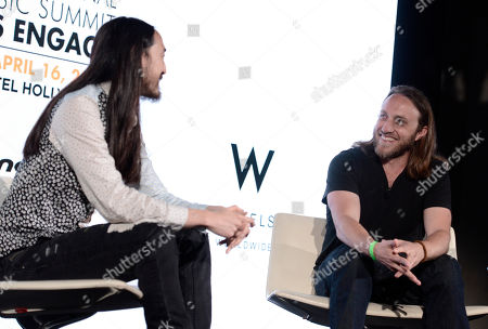Steve Aoki, left, and Chad Hurley attend the International Music Summit - IMS Engage at W Hollywood,, in Los Angeles