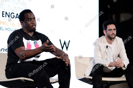 "Sean ""Diddy"" Combs, left, and Guy Gerber attend the International Music Summit - IMS Engage at the W Hollywood,, in Los Angeles"