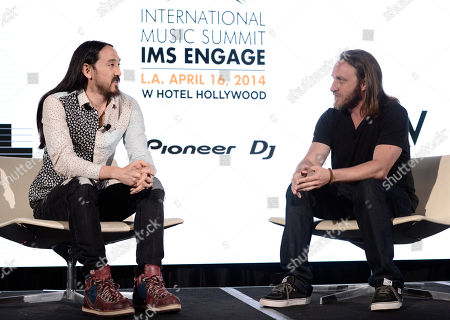 IMAGE DISTRIBUTED FOR W HOTELS WORLDWIDE - Steve Aoki, left, and Chad Hurley attend the International Music Summit - IMS Engage at W Hollywood,, in Los Angeles