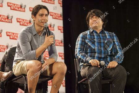 Lorenzo Henrie and Lincoln Castellanos appear at the Walker Stalker convention during the Fear The Walking Dead panel, at the Donald E. Stephens Center in Rosemont, IL