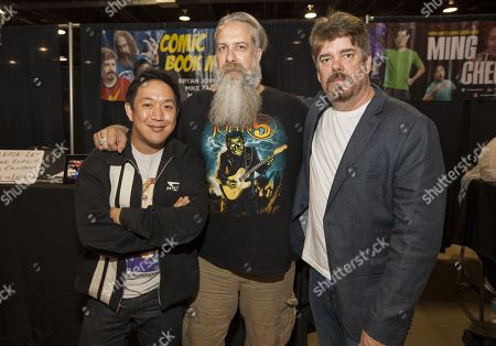 Ming Chen, Bryan Johnson and Mike Zapcic appear at the Walker Stalker convention during the Fear The Walking Dead panel, at the Donald E. Stephens Center in Rosemont, IL