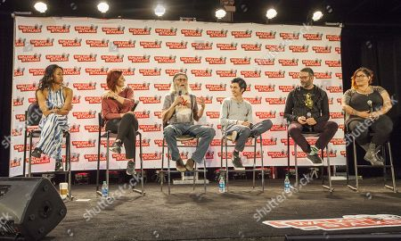 Stock Image of Pisay Pao, Anastasia Baranova, Russell Hodgkinson, Nat Zang, Keith Allan and Corrine Foster appear at the Walker Stalker convention during the Z Nation panel, at the Donald E. Stephens Center in Rosemont, IL