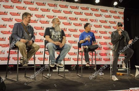 Stock Picture of Mike Zapcic, Bryan Johnson, Ming Chen and Michael Rooker appear at the Walker Stalker convention during the Merle panel, at the Donald E. Stephens Center in Rosemont, IL