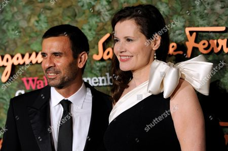 Actress Geena Davis, right, and Dr. Reza Jarrahy arrive at the Wallis Annenberg Center for the Performing Arts Inaugural Gala, in Beverly Hills, Calif