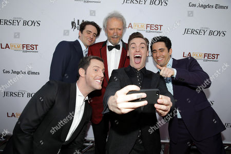 Michael Lomenda, Vincent Piazza, Director/Producer Clint Eastwood, Erich Bergen and John Lloyd Young seen at the Warner Bros. Premiere of 'Jersey Boys' at the 2014 Los Angeles Film Festival held at Regal Cinemas LA Live Stadium 14, in Los Angeles