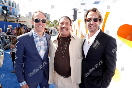 Composers Mychael Danna, Danny Trejo and Jeff Danna seen at Warner Bros. Pictures and Warner Animation Group World Premiere of STORKS at the Regency Village Theater, in Los Angeles
