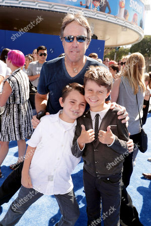 Kevin Nealon, Gable Ness Nealon and guest seen at Warner Bros. Pictures and Warner Animation Group World Premiere of STORKS at the Regency Village Theater, in Los Angeles