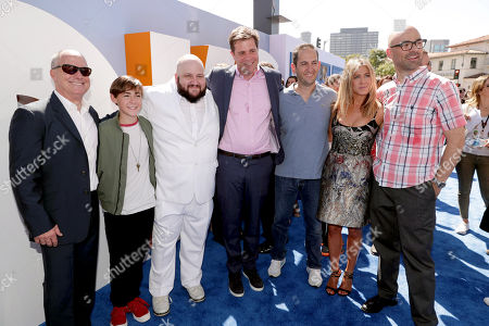 Producer Brad Lewis, Anton Starkman, Stephen Kramer Glickman, Co-Director/Writer/Producer Nicholas Stoller, Greg Silverman, President, Creative Development and Worldwide Production, Warner Bros. Pictures, Jennifer Aniston and Co-Director Doug Sweetland seen at Warner Bros. Pictures and Warner Animation Group World Premiere of STORKS at the Regency Village Theater, in Los Angeles