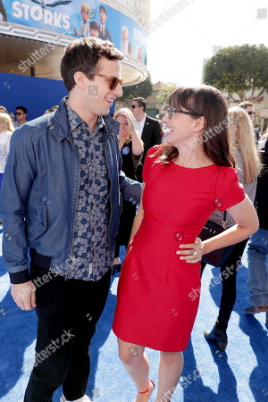 Andy Samberg and Katie Crown seen at Warner Bros. Pictures and Warner Animation Group World Premiere of STORKS at the Regency Village Theater, in Los Angeles