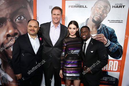 "Stock Image of Erick Chavarria, Will Ferrell, Alison Brie and Kevin Hart seen at Warner Bros. Pictures Los Angeles Premiere of ""Get Hard"", in Hollywood"