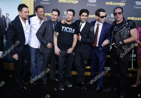 """Producer Stephen Levinson, Johnny Alves, Kevin Dillon, Mark Wahlberg, Adrian Grenier, Writer/Director/Producer Doug Ellin and Andrew Dice Clay seen at Warner Bros. Premiere of """"Entourage"""" held at Regency Village Theatre, in Westwood, Calif"""