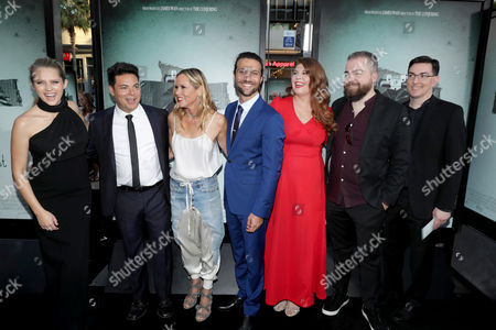 "Teresa Palmer, Producer Lawrence Grey, Maria Bello, Alexander DiPersia, Lotta Losten, Writer/Director David F. Sandberg and Writer/Producer Eric Heisserer seen at Warner Bros. Premiere of ""Lights Out"" at TCL Chinese Theatre, in Los Angeles"