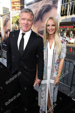 """Anthony Michael Hall and Lucia Oskerova seen at Warner Bros. Premiere of """"The Water Diviner"""", in Los Angeles"""