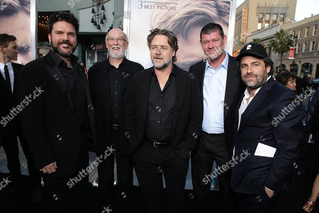"""Stock Picture of Producer Keith Rodger, Producer Andrew Mason, Director Russell Crowe, Executive Producer James Packer and Executive Producer Brett Ratner seen at Warner Bros. Premiere of """"The Water Diviner"""", in Los Angeles"""