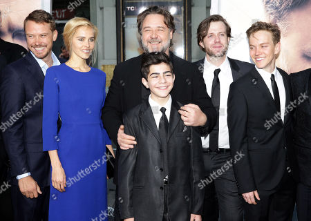 """Michael Dorman, Isabel Lucas, Director Russell Crowe, Dylan Georgiades, Chris Sommers and James Fraser seen at Warner Bros. Premiere of """"The Water Diviner"""", in Los Angeles"""