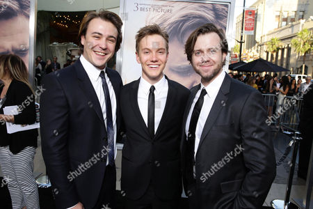 """Ben O'Toole, James Fraser and Chris Sommers seen at Warner Bros. Premiere of """"The Water Diviner"""", in Los Angeles"""