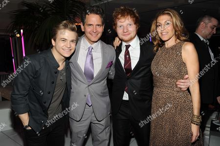 Hunter Hayes, Craig Kallman, Ed Sheeran, and Julie Greenwald seen at Warner Music Group's Annual Grammy Celebration, on in West Hollywood Calif