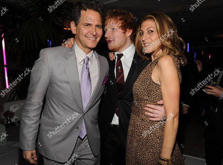 Craig Kallman, Ed Sheeran, and Julie Greenwald seen at Warner Music Group's Annual Grammy Celebration, on in West Hollywood Calif