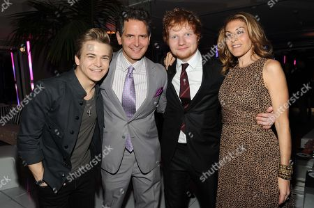 Stock Photo of Hunter Hayes, Craig Kallman, Ed Sheeran, and Julie Greenwald seen at Warner Music Group's Annual Grammy Celebration, on in West Hollywood Calif