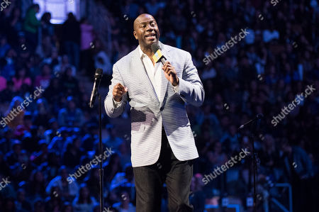 """Stock Photo of Earvin """"Magic"""" Johnson speaks at We Day, in Toronto"""