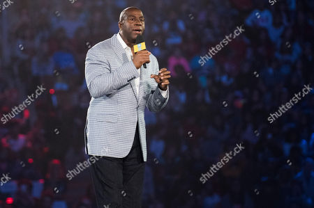 """Stock Image of Earvin """"Magic"""" Johnson speaks at We Day, in Toronto"""