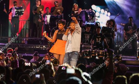Grammy award-winner Jennifer Hudson and Hip-hop artist Lupe Fiasco and perform during the We Day Illinois 2015 at Allstate Arena on in Chicago